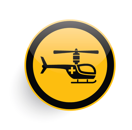 helicopter: Helicopter icon design on yellow button background,clean vector