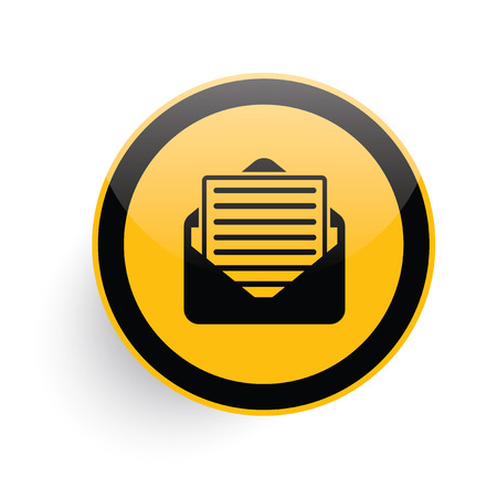 web marketing: Email icon design on yellow button background,clean vector Illustration