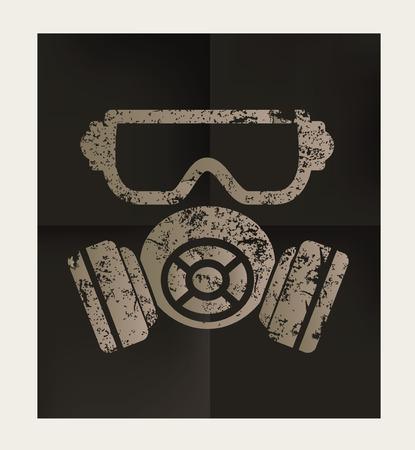 gas mask danger sign: Mask industry design on black background,vector