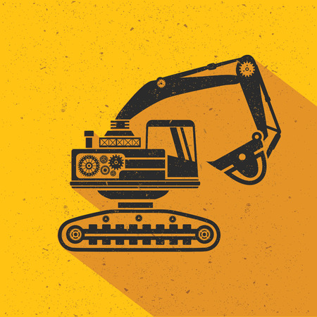 wheeled tractor: Truck flat design,yellow version,vector