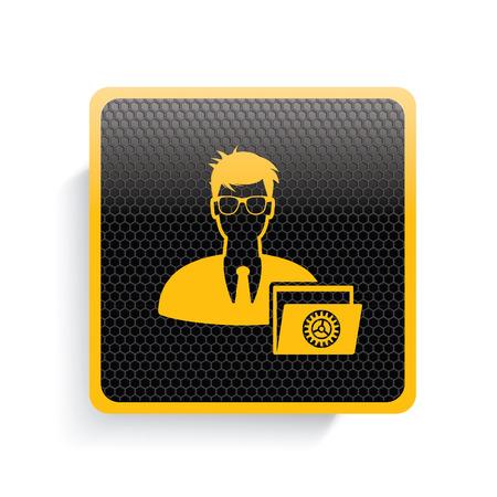 ADMIN: Admin icon design,yellow version,clean vector