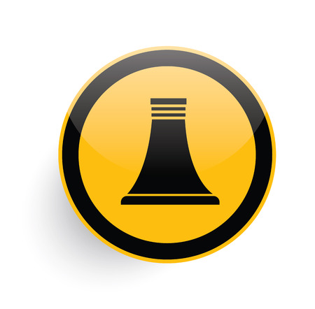 nuclear icon: Nuclear icon on yellow button background,clean vector