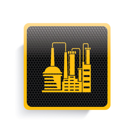 steel mill: Industry icon design,yellow version,clean vector Illustration