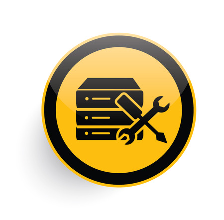 Database,Network icon design on yellow button background,clean vector Illustration