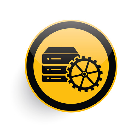 db: Database server icon design on yellow button background,clean vector