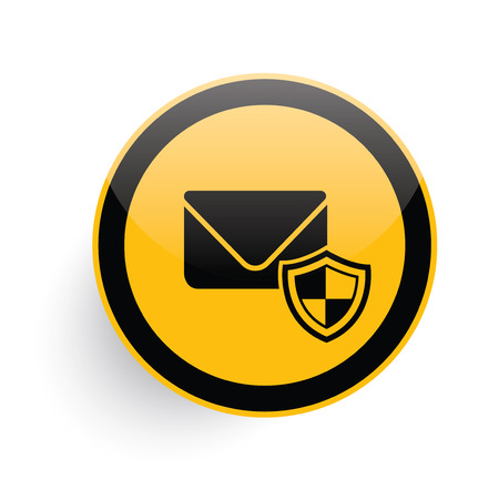 email security: Email security icon design on yellow button background,clean vector Illustration