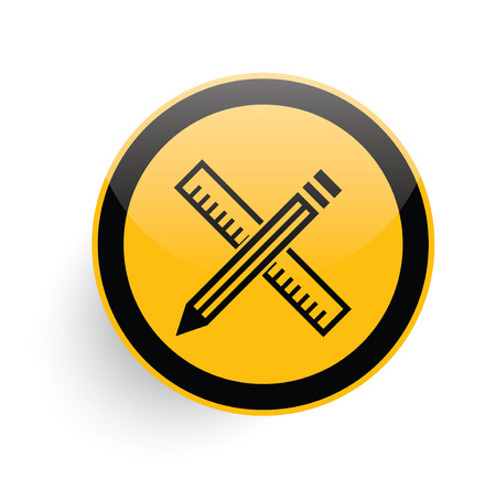 Pencil icon on yellow button background,clean vector