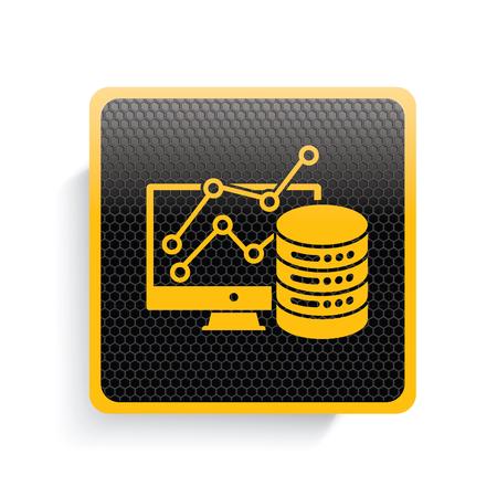 gigabyte: Database icon design,yellow version,clean vector