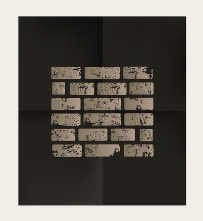 stonework: Wall design on black background,vector