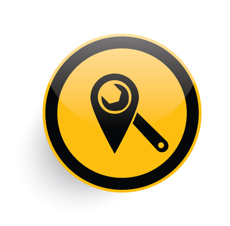 Repair icon design on yellow button background,clean vector Çizim