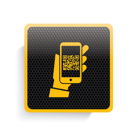 checkout line: Coding on mobile icon design,yellow version,clean vector Illustration