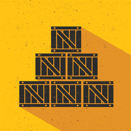 stockpile: Box flat design,yellow version,vector Illustration