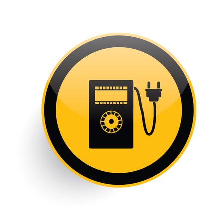 electricity meter: Electricity meter icon on yellow button background,clean vector Illustration