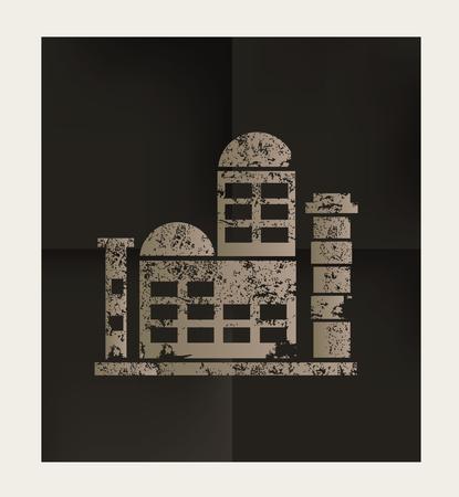 smokestack: Factory,industry design on black background,vector