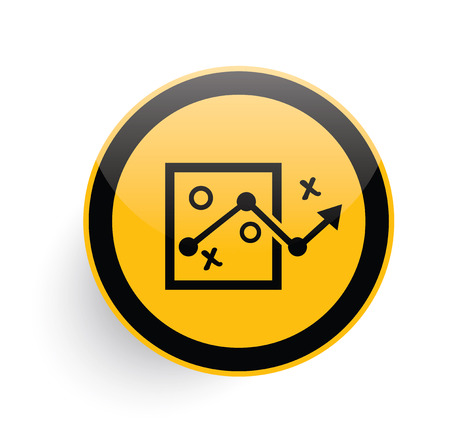 choose a path: Strategy icon on yellow button background,clean vector