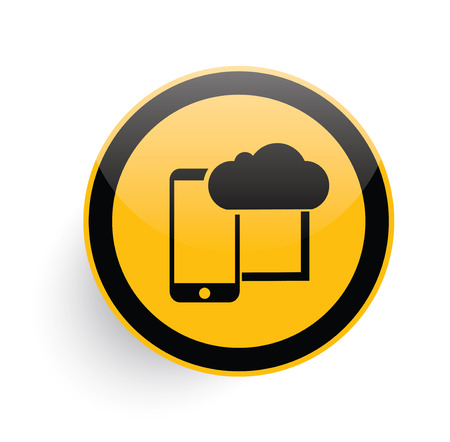 phone button: Cloud computing icon design on yellow button background,clean vector