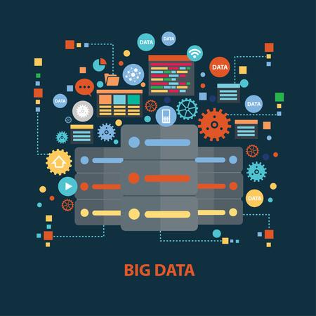 Concepto de diseño de datos grande en el fondo oscuro, limpio vector