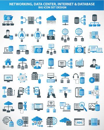 Networking, centrum danych, Internet, cloud computing, ikony serwera bazy danych, wersja niebieska, czyste wektora