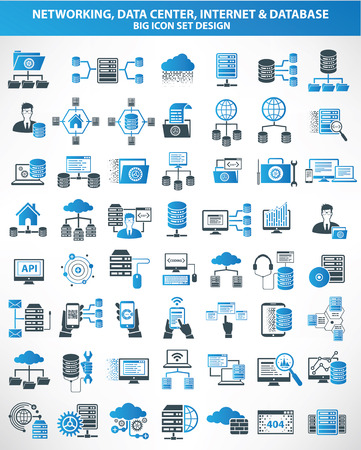 blue network: Networking,Data center,Internet,Cloud computing,Database server icons,blue version,clean vector Illustration
