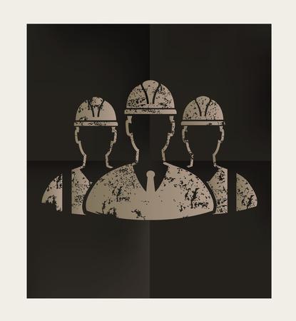 Teamwork, engineering design on black background, vector