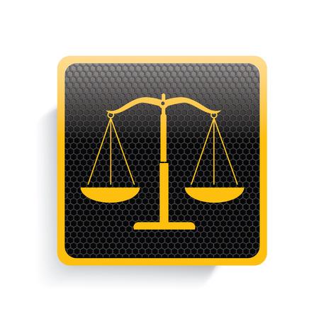 delincuencia: Justicia de dise�o icono de la escala, la versi�n amarilla, limpio vector Vectores