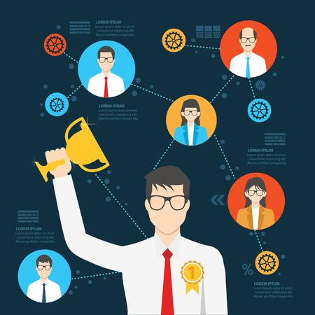 recompense: Good employee design,info graphic design,clean vector Illustration