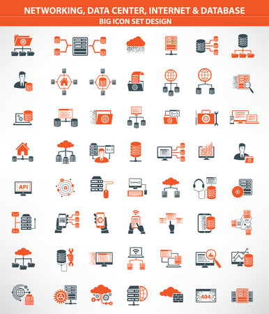 Netwerken, Data centers, Internet, Cloud computing, Databaseserver pictogrammen, oranje versie, duidelijke vector Stock Illustratie