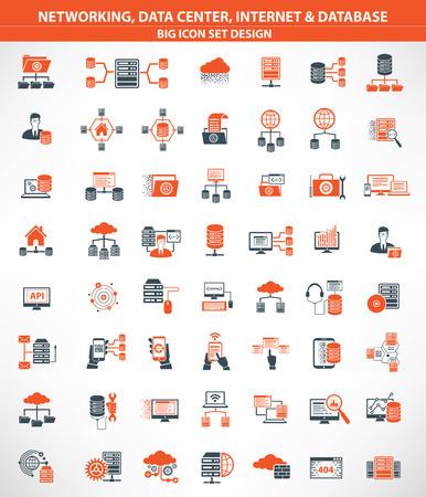 Redes, centros de datos, Internet, computación en nube, iconos de servidor de base de datos, la versión naranja, vector limpia