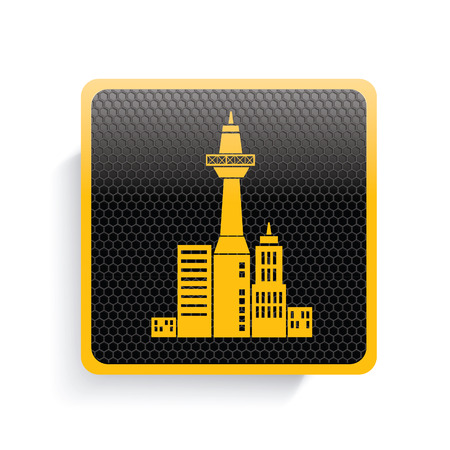 townscape: Real estate icon design,yellow version,clean vector