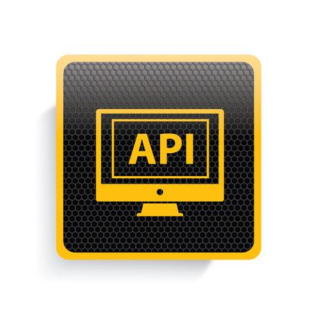 api: API icon design,yellow version,clean vector