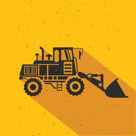 dredger: Truck flat design,yellow version,vector