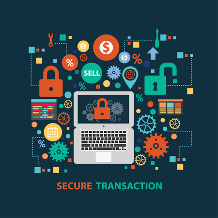 Secure transaction concept design on dark background,clean vector Illustration