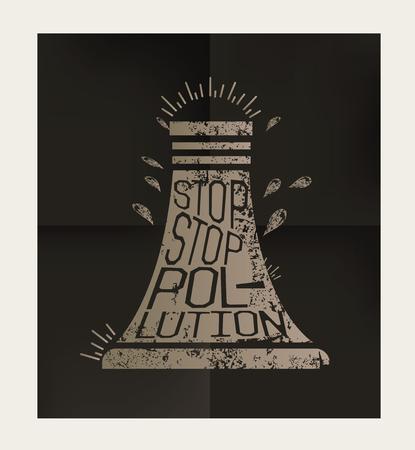 cooling tower: Nuclear design on black background,vector Illustration