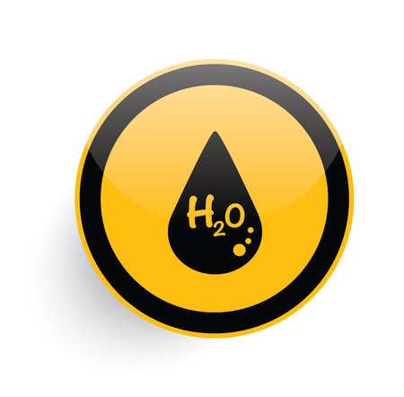 vector button: Water drop icon design on yellow button background,clean vector