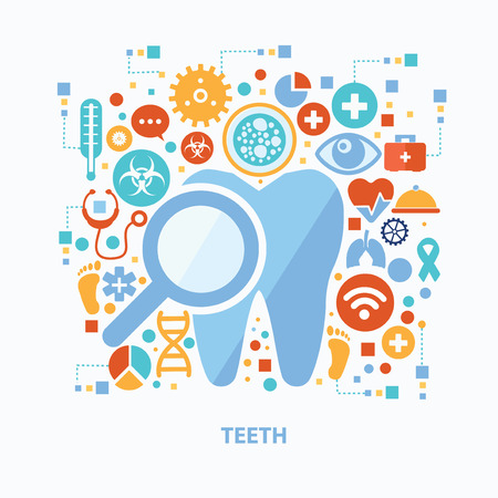 teeth white: Teeth and healthy concept design on white background,clean vector Illustration