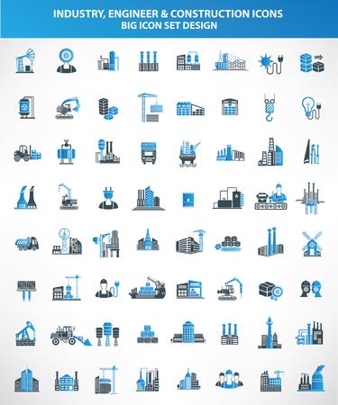 Construcción, Ingeniero y conjunto de iconos de Industria, versión azul, limpio vector Ilustración de vector