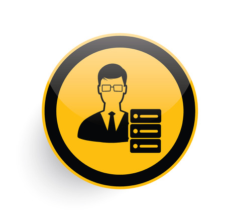 admin: Admin,network icon design on yellow button background,clean vector Illustration