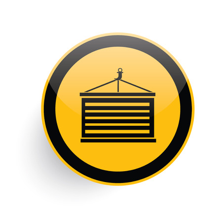 dockyard: Container icon on yellow button background,clean vector