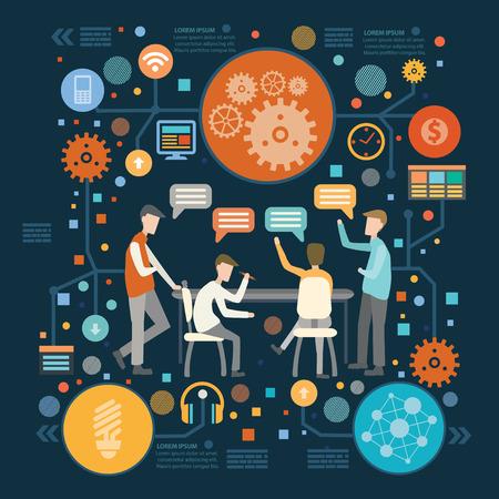 career success: Brainstorm,teamwork concept design on dark background,clean vector