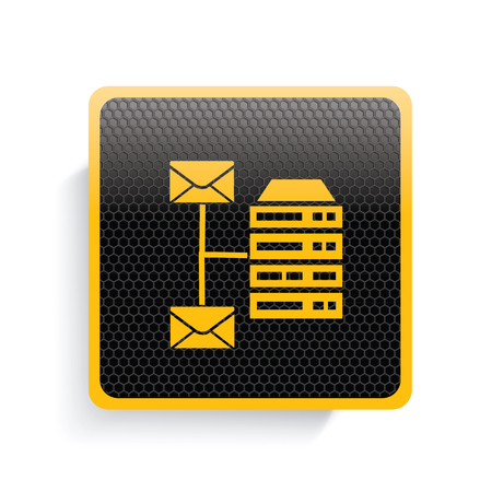 webhosting: Database icon design,yellow version,clean vector