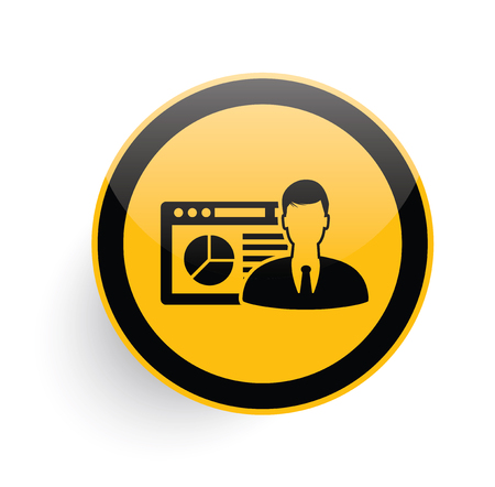 Admin,network icon design on yellow button background,clean vector Illustration