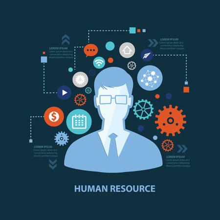 management concept: Human resource concept design on dark background,clean vector Illustration