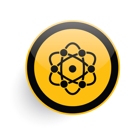 fission: Science icon design on yellow button background,clean vector