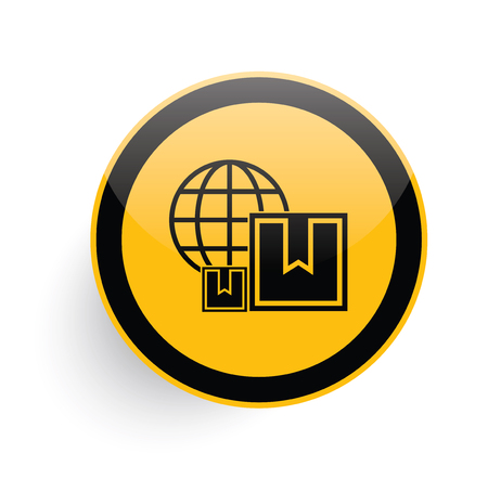 stockpile: Shipping icon on yellow button background,clean vector Illustration