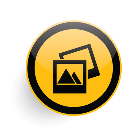 empty pocket: Photo icon on yellow button background,clean vector Illustration