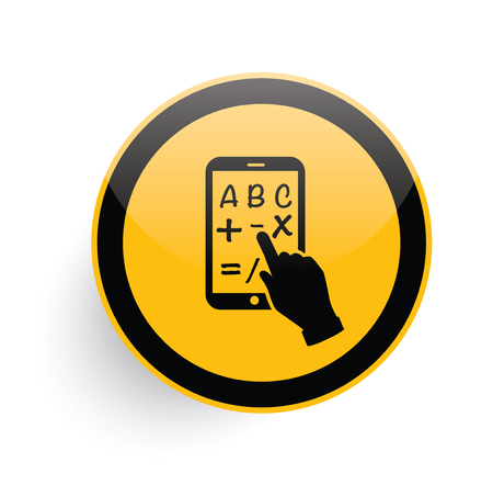 pc icon: Tablet pc icon design on yellow button background,clean vector Illustration