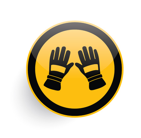 latex: Glove icon on yellow button background,clean vector