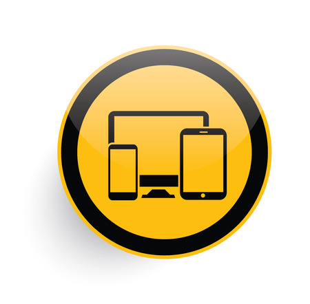 display size: Responsive icon design on yellow button background,clean vector Illustration