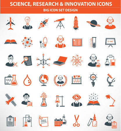 computer scientist: Science,Research and innovation icon set,orange version,clean vector