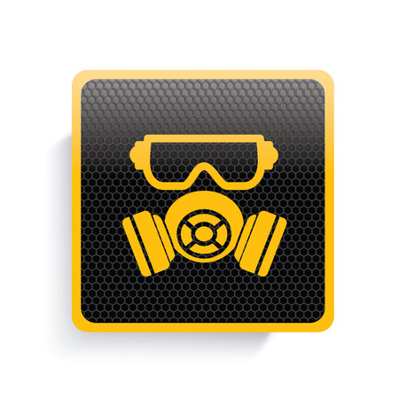 biological warfare: Mask industry icon design,yellow version,clean vector